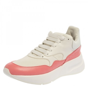 Alexander McQueen White/Pink Leather Oversized Runner Low Top Sneakers Size 41