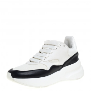 Alexander McQueen White/Black Leather And Mesh Oversized Runner Low Top Sneakers Size 35