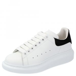 Alexander McQueen Ivory/Black Leather Oversized Sneakers Size EU 36.5