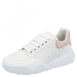 Alexander McQueen White/Pink Leather Oversized Sneakers Size EU 35.5