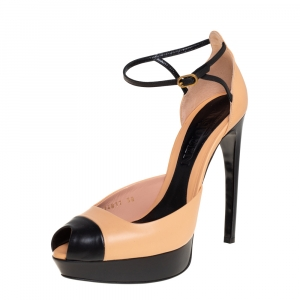 Alexander McQueen Beige/Black Leather Horn Heel Platform Ankle Strap Sandals Size 38