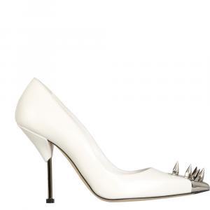 Alexander McQueen White Leather Punk Stud Pumps Size IT 36