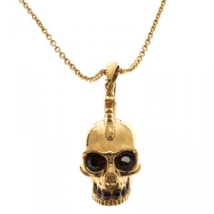 Alexander Mcqueen Mohawk Skull Crystal Studded Gold Tone Necklace