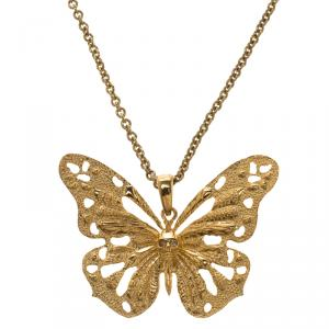 Alexander McQueen Butterfly Gold Tone Pendant Necklace