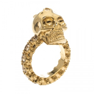 Alexander McQueen Skull Crystal Embedded Gold Tone Ring Size 52.5