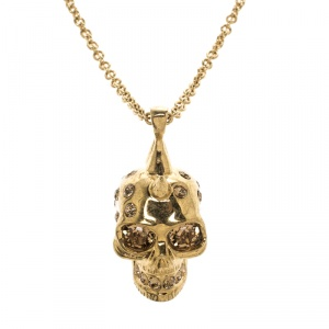 Alexander McQueen Crystal Embedded Gold Tone Skull Pendant Necklace