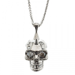 Alexander McQueen Crystal Embedded Silver Tone Skull Pendant Necklace