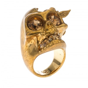 Alexander McQueen Crystal Embedded Skull Perched Bird Gold Tone Ring Size 52