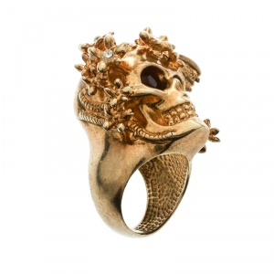 Alexander McQueen Skull Crystal Flower Gold Tone Cocktail Ring Size 52