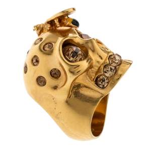Alexander McQueen Bee Crystal Studded Skull Gold Tone Ring Size 54