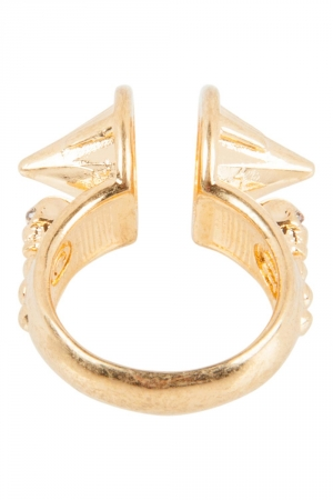 Alexander McQueen Spike Crystal Gold Tone Open Ring Size 50.5