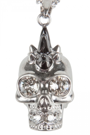 Alexander McQueen Spike Skull Crystal Studded Silver Tone Long Pendant Necklace