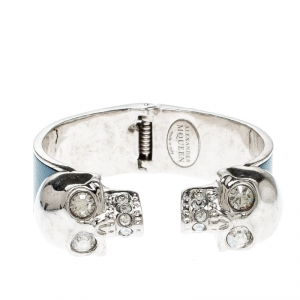 Alexander McQueen Blue Leather Crystal Twin Skull Open Cuff Bracelet