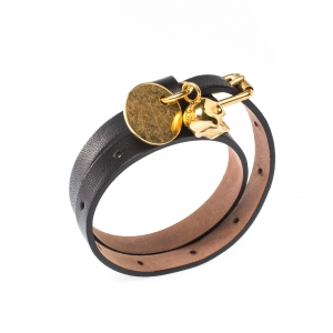 Alexander McQueen Skull Charm Black Leather Gold Tone Wrap Bracelet