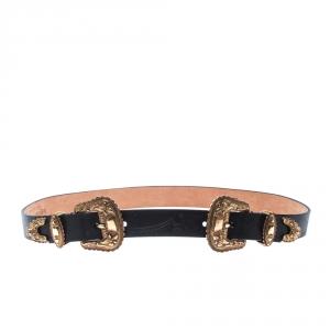 Alexander McQueen Black Leather Double Buckle Belt 80CM