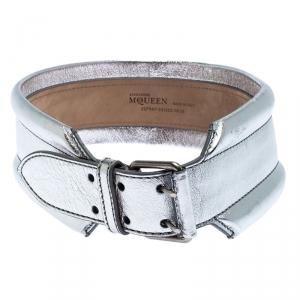 Alexander McQueen Silver Metallic Leather Belt 70 CM