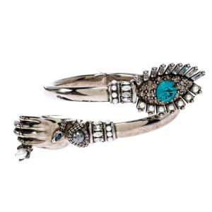 Alexander McQueen Jewelled Eye & Hand Wrap Silver Tone Cuff Bracelet S