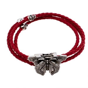 Alexander McQueen Red Braided Leather Crystal Butterfly Charm Layered Bracelet