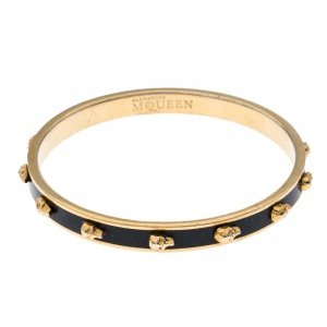 Alexander McQueen Black Enamel 3D Skull Narrow Bangle Bracelet