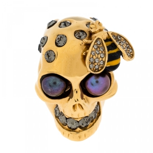 McQ by Alexander McQueen Gold Tone Crystal Skull and Bee Cocktail Ring Size EU 54.5