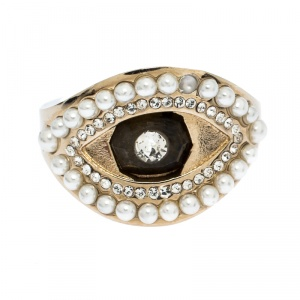 Alexander McQueen Pale Gold Tone Pearl & Crystal Encrusted Eye Ring Size 13