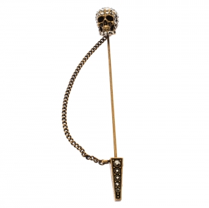 Alexander McQueen Crystal Antique Gold Tone Skull Pin Brooch