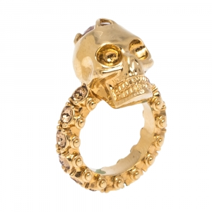 Alexander McQueen Skull Crystal Embedded Gold Tone Ring Size 51