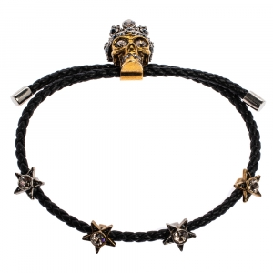 Alexander McQueen Leather Skull Motif Crystal Embellished Two Tone Bracelet