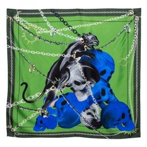 Alexander McQueen Green & Blue Panther Skull Print Silk Scarf