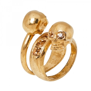 Alexander McQueen Twin Skull Motif Crystal Gold Tone Spiral Ring Size 54.5
