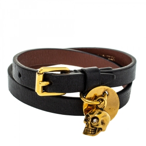 Alexander McQueen Black Leather Skull Charm Double Wrap Bracelet