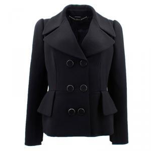Alexander McQueen Black Wool Peplum Jacket L