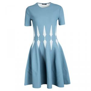 Alexander McQueen Blue Knit Intarsia Skater Dress M
