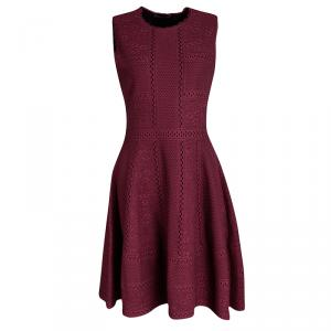 Alexander McQueen Burgundy Lace Knit Full Circle Sleeveless Dress M