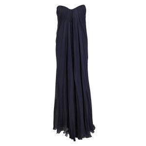 Alexander Mc Queen Navy Blue Silk Chiffon Draped Strapless Dress M