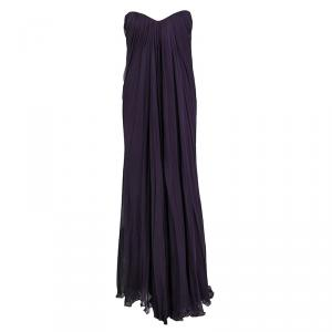 Alexander McQueen Purple Silk Chiffon Draped Strapless Dress S