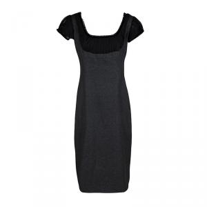 Alexander McQueen Grey Wool Cashmere Frayed Trim Detail Dress M