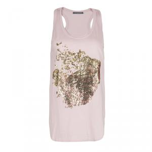Alexander McQueen Pale Pink Embellished Tank Top S