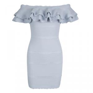 Alexander McQueen Blue Perforated Knit Ruffle Detail Off Shoulder Dress S