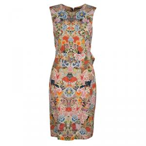 Alexander McQueen Floral Kaleidoscope Print Sleeveless Belted Cocktail Dress M