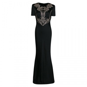 Alexander McQueen Black Satin Crystal Embellished Gown M