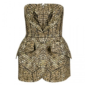 Alexander McQueen Gold and Black Honeycomb Pattern Jacquard Strapless Corset Top M