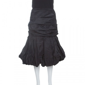Alexander McQueen Black Ruched Silk Layered Balloon Skirt M