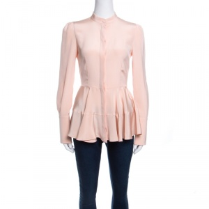 Alexander Mcqueen Peach Silk Long Sleeve Peplum Shirt S