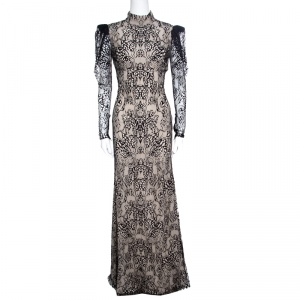 Alexander McQueen Beige and Black Backless Butterfly Lace Gown S