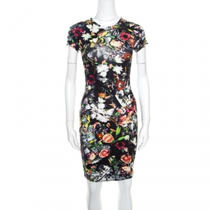 McQ by Alexander McQueen Black Floral Printed Knit Bodycon Dress XXS
