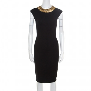 Alexander McQueen Black Stretch Wool Embellished Neck Sleeveless Bodycon Dress XS used