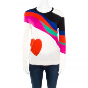 Alexander McQueen Multicolor Wool Heart Print Sweater M