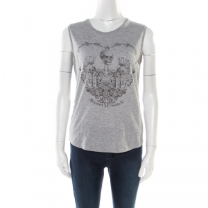 Alexander McQueen Grey Skeleton Printed Cotton Jersey Tank Top S