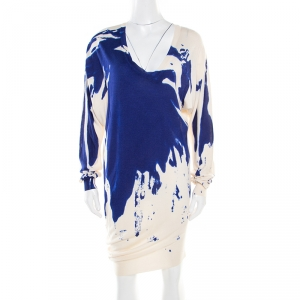Alexander McQueen Abstract Print Cashmere Silk Asymmetric Sweater Dress S
